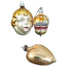 Antique German Christmas Ornament LOT MERCURY GLASS Figural Child Heart
