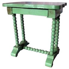 RARE Vintage TYNIETOY Tynie Toy Green Victorian Spool Stand Table Dollhouse Miniature