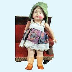 "Vintage c.1930 German Celluloid 4"" GIRL DOLL Dollhouse Miniature"