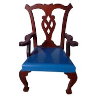 RARE Vintage TYNIETOY Tynie Toy Blue Painted Chippendale Arm Chair Dollhouse Miniature