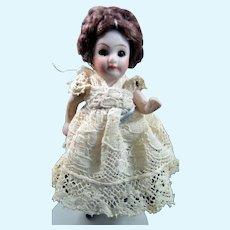 "Antique 3"" Kestner MIGNIONETTE All Bisque DOLL Dollhouse Miniature"