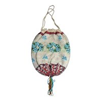 Antique c.1900 MICROBEADED Forget-Me-Nots Purse Drawstring From Germany