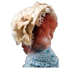 """Antique c. 1900 German BONNET HAT for 3-5"""" Mignonette Doll or Dollhouse Doll"""