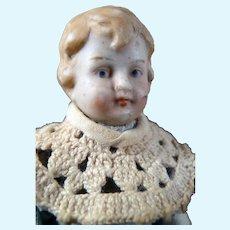 "Antique German All Bisque 4.5"" Hertwig BOY DOLL 1:12 Dollhouse Size"