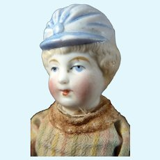 """Antique German All Bisque 5"""" Hertwig BONNET HEAD GIRL DOLL 1:12 Dollhouse Size"""