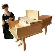 RARE Vintage TYNIETOY Mt. Vernon Harpsichord Unstained Dollhouse Miniature
