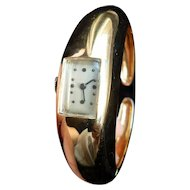 Rare Vintage 14k Gold Large Bangle Watch Bracelet