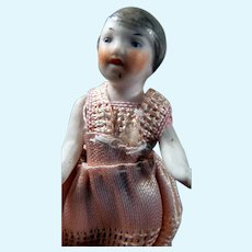 """Antique c.1920 German All Bisque 3.5"""" GIRL DOLL 1:12 Dollhouse Size"""