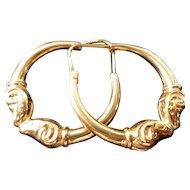 BEAUTIFUL Heavy 18k Gold Rams Head Hoop Earrings 7g
