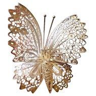 Mid Century Sterling Silver Filigree Enamel Butterfly Brooch Franz Holm Sweden