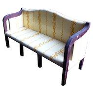 RARE Vintage TYNIETOY Yellow Vine Mahogany Sheraton Settee Sofa
