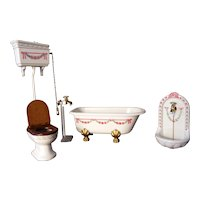VTG Metal 4 Pc BATHROOM SET Tub Sink Toilet 1:12 Dollhouse Miniature