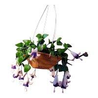 Vintage Artist Signed Hanging Fuchsia FLOWER POT 1:12 Dollhouse Miniature