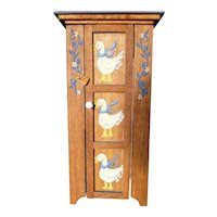 Vintage Artist Richards Hand Painted Country Ducks CABINET 1:12 Dollhouse Miniature
