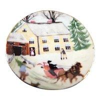 Artist Diane Foster DISPLAY PLATE Rural Winter 1:12 Dollhouse Miniature