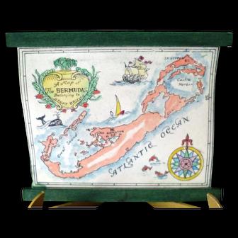 RARE Vintage TYNIETOY Tynie Toy Hand Painted Bermudas Map Dollhouse Miniature
