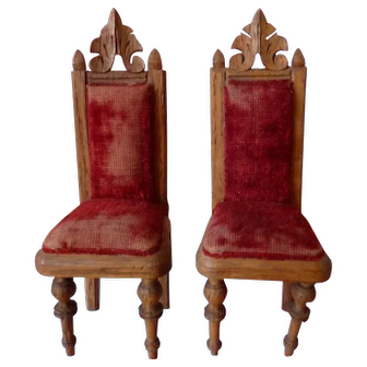 Pair of Antique German Carved Wood Chairs Dollhouse Miniatures Red Velvet Upholstery