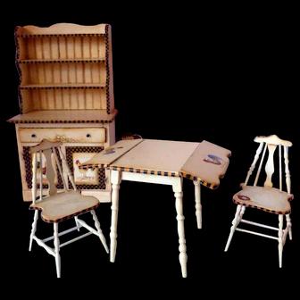 Artist Signed J Millar OOAK Dollhouse Miniature 5 Piece Dining Set