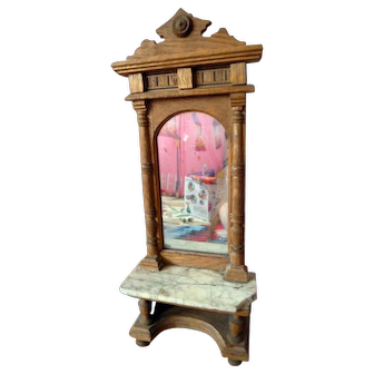 Exceptional Antique Carved Inlay Wood Hall Mirored Table Dollhouse Miniature FROM MUSEUM