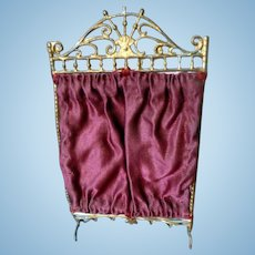 Antique German Soft Metal & Silk Changing Screen Dollhouse Miniature FROM MUSEUM