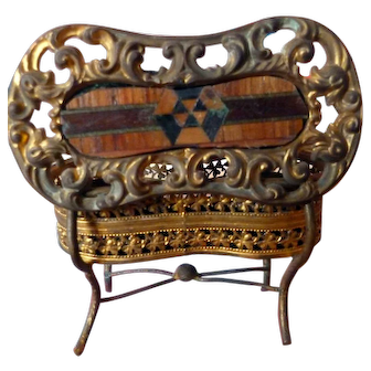 Rare Antique Ormalu Table Casket With Real Wood Inlay Dollhouse Miniature FROM MUSEUM