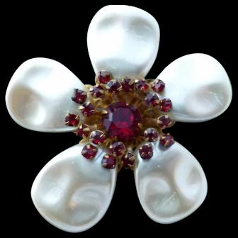Vintage Signed MIRIAM HASKELL Flower Rhinestone Brooch Pin