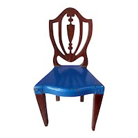 RARE Vintage TYNIETOY BLUE Painted Hepplewhite Chair Dollhouse Miniature