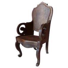 RARE Vintage TYNIETOY Mahogany Victorian Arm Chair Dollhouse Miniature