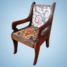 Beautiful Vintage Artist Signed Jean Wooden Chair Dollhouse Miniature