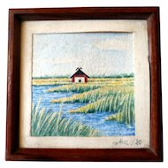 LOVELY Vintage Watercolor Painting Landscape Dollhouse Miniature