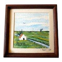 LOVELY Vintage Watercolor Painting Landscape Dollhouse Miniature