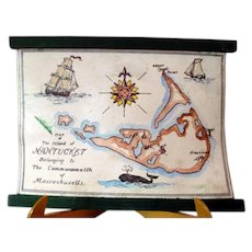 RARE Vintage TYNIETOY Tynie Toy Hand Painted Nantucket Map Dollhouse Miniature