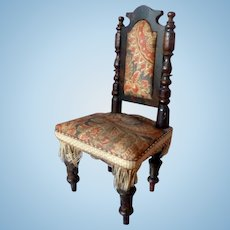 RARE Antique Victorian Paisley Upholstered CHAIR Dollhouse Miniature FROM MUSEUM