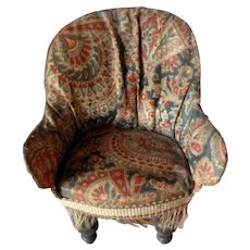 RARE Antique Victorian Upholstered Wing Chair Dollhouse Miniature FROM MUSEUM