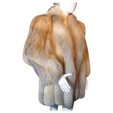 Fabulous Designer Golden Island Fox Fur Coat BILL BLASS M-XL