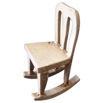 Antique German Gottschalk Dollhouse Miniature Rocking Chair For Room Box