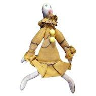 "RARE Antique 5.5"" Folk Art Clay Clown Dollhouse Doll FROM MUSEUM"