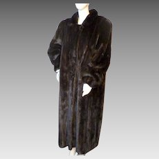 Fantastic Full Length BLACK MINK Fur Coat Evans Collection M-XXL