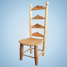 Lovely Artist Made Wood Ladder Back CHAIR Dollhouse Miniature