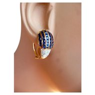 BEAUTIFUL Estate 18 Karat Gold Pavé Diamond & Sapphire Earrings European * Post or Clip*