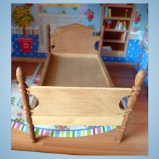 RARE Vintage TYNIETOY Tynie Toy Victorian Wood Bed Dollhouse Miniature
