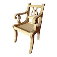 Vintage TYNIETOY Tynie Toy Lyre Back DUNCAN PHYFE Arm Chair Dollhouse Miniature