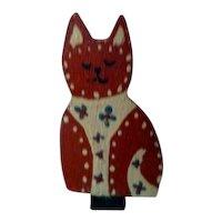 Artist Signed Joab Dollhouse Miniature CAT Shelf Decoration OOAK