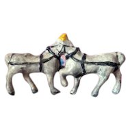 Vintage Antique Miniature DRAFT Circus HORSES Metal Lead Pewter Animal Toy Dollhouse Miniature