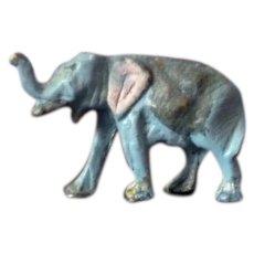 Vintage Antique Miniature ELEPHANT Painted Metal Lead Pewter Animal Toy Dollhouse Miniature Zoo Circus