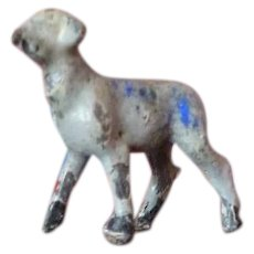 Vintage Antique Miniature LAMB Metal Lead Pewter Animal Toy Dollhouse Miniature Farm
