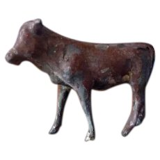 Vintage Antique Miniature COW Metal Lead Pewter Animal Toy Dollhouse Miniature Farm