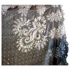 BEAUTIFUL Antique Italian Hand Embroidered WEDDING VEIL