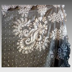 BEAUTIFUL Antique Italian Hand Embroidered WEDDING VEIL