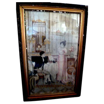 Expert Mid 19th Century Needlepoint Petipoint Framed Picture Man & Woman c. 1810